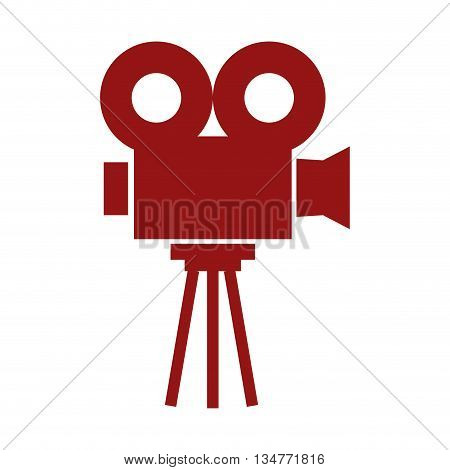 red video projector sideview vector illustration isolated over white