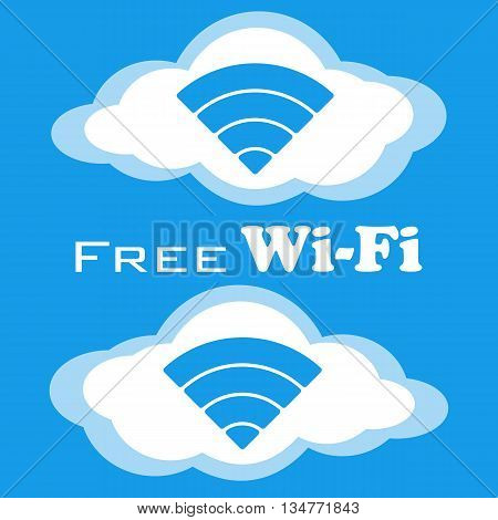 Free wifi vector icon. Wireless Network icon. White and blue flat cloud buttons with wi-fi symbol. Modern UI element. Vector illustration.