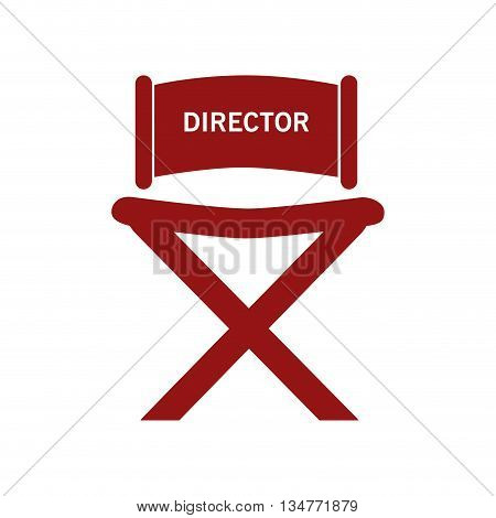 red director chair with letters isolated over white