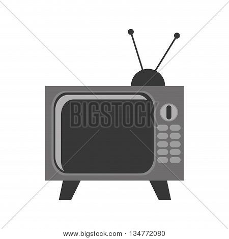 black and grey vintage television with antenna and buttons vector illustration isolated over white