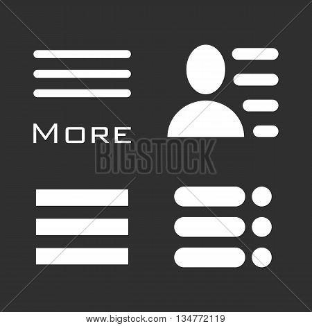 Hamburger Menu Icons Set. Bar Line Symbols Collection. Vector Illustration white signs on black background. White and black image.