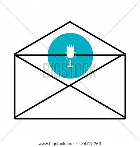 mail envelope with blue circle above and white microphone icon over isolated background, vector illustration