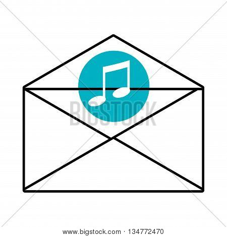 mail envelope with blue circle above and white music icon over isolated background, vector illustration