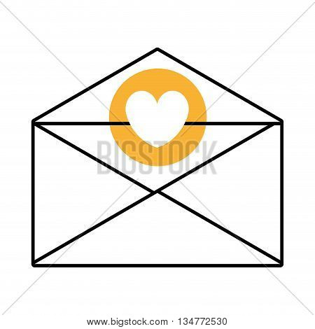 mail envelope with yellow circle above and white heart icon over isolated background, vector illustration
