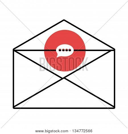 mail envelope with red circle above and white message icon over isolated background, vector illustration