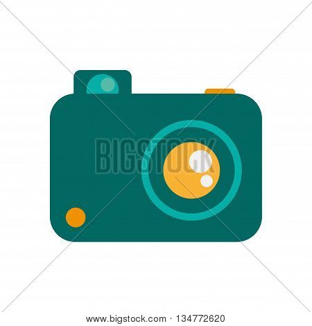 simple blue photographic camera with yellow lens, flash and button vector illustration isolated over white