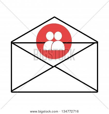 mail envelope with blue circle above and white people icon over isolated background, vector illustration