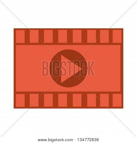 red segment of film roll with play icon in the center vector illustration isolated over white