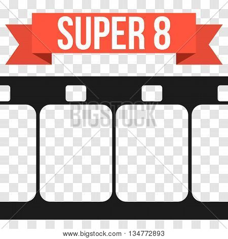Vector Super 8 Film Strip Illustration on transparent Background. Abstract Film Strip design template.