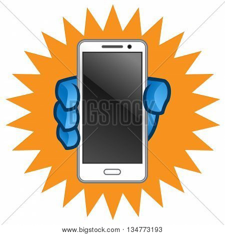 Hand holding a mobile phone, a smartphone