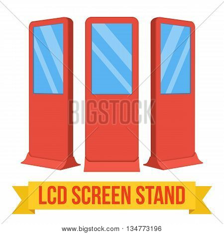 LCD Screen Floor Stand. Red Trade Show Booths with different angles. Vector illustration of kiosk machines isolated on white background. Ad template for your expo design with ribbon banner text.