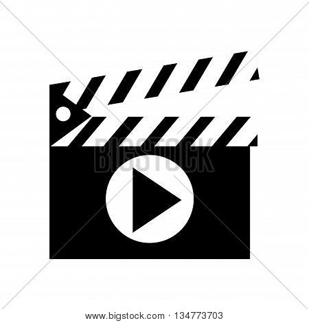black and white clapperboard with stripes on top and play icon in the center vector illustration isolated over white