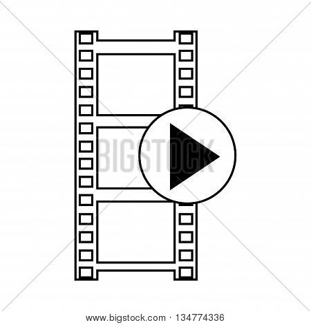 simple black and white line film roll with play icon in its border isolated over white