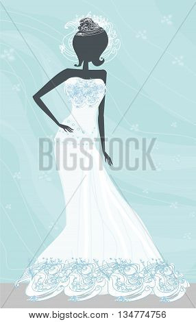 Abstract Beautiful bride with white dress , vector illustration