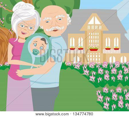 grandparents walking with grandson on rural landscape , vector illustration