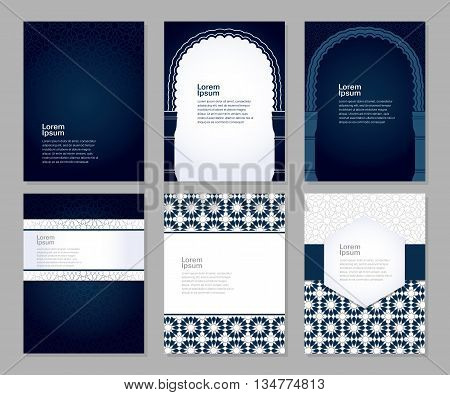 Banners set of templates with classic arabic ornament, vector illustration