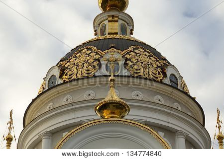 Symmetric composition of orthodox temple dome, Orthodox church architecture. Front view.