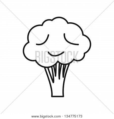 Broccoli icon in outline style isolated on white background