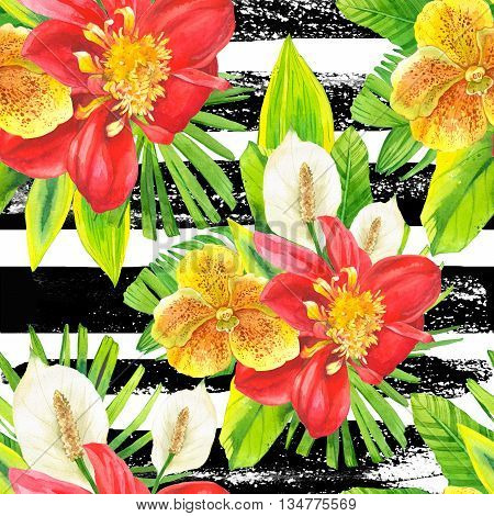 Beautiful bouquet on a striped black and white background. Composition with lily dahlia orchid and begonia leaves. Botanical illustration.