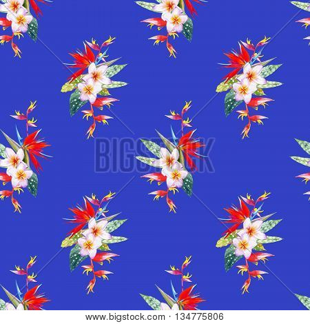 Beautiful bouquet with tropical flowers and plants on blue background. Composition with plumeria strelitzia palm and begonia leaves.