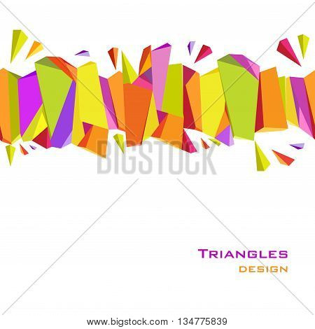 Abstract geometric background. Horisontal triangles, geometric shapes border design. Orange, yellow, green, purple geometric abstract triangles border design in white background. Vector illustration.