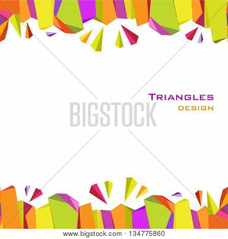 Abstract geometric background. Border frame with triangles, geometric shapes design. Orange, yellow, green, purple geometric abstract triangles design in white background. Vector illustration.