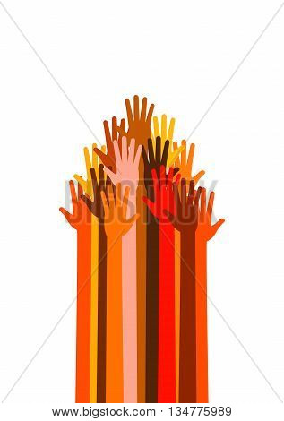 Many colored and different races hands in the form, sign of raised up arrow, pointer, cursor, signpost, indicator. Vector illustration on white background. Upwards power arms.