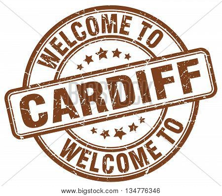 welcome to Cardiff stamp. welcome to Cardiff. vector