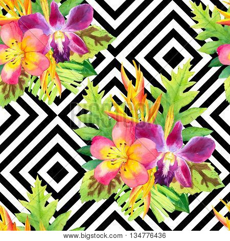 Beautiful bouquet on black and white background with geometric pattern. Composition with strelitzia orchid palm and begonia leaves.