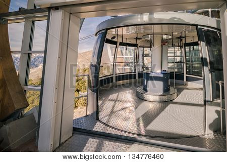 Cabin of a cableway stop at mountain station.