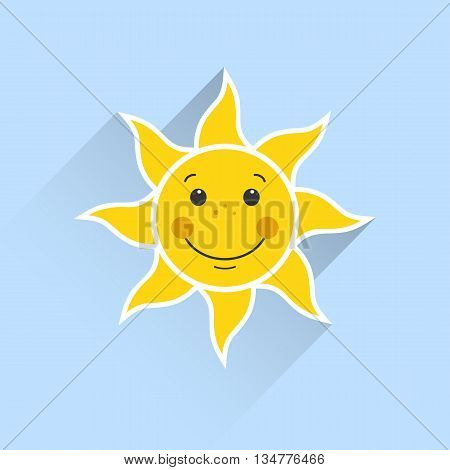 a smiling sun on a blue background