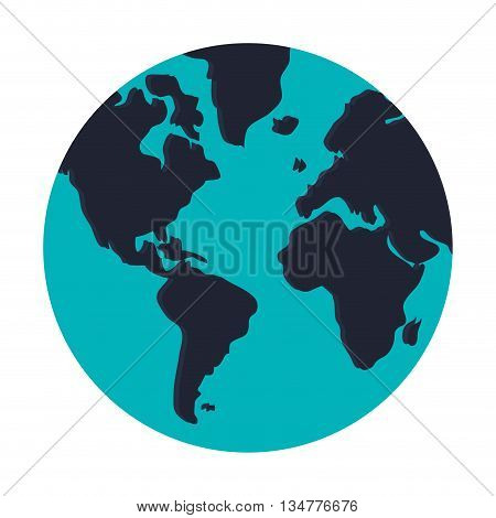 blue earth globe with distinction between water and land vector illustration isolated over white