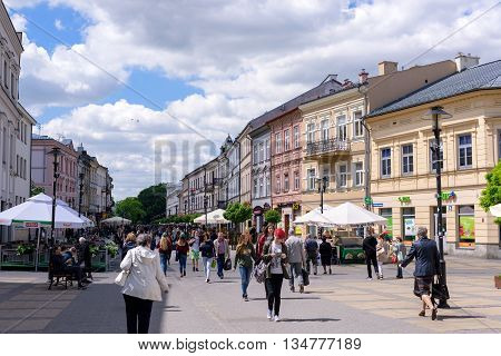 LUBLIN POLAND - MAY 19: General view of Krakowskie Przedmiescie street in ancient city Lublin Poland on May 19 2016. Lublin is popular travel destination in eastern Poland.