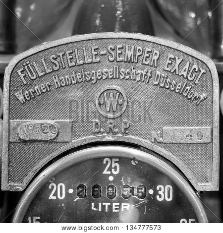 Verona Italy - May 9 2015: Detail of an old manual fuel pump.