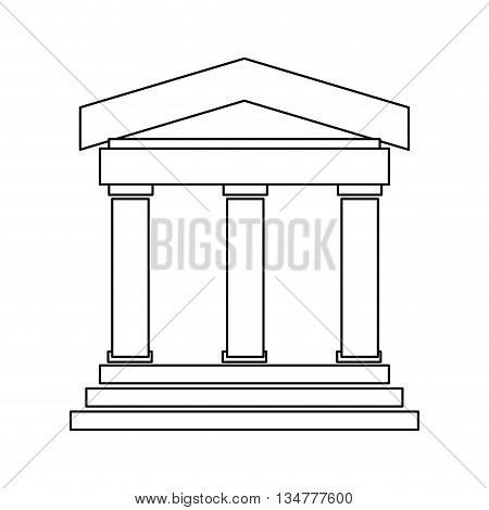 black line ancient greek or roman building with 3 pillars and 3 steps vector illustration isolated over white