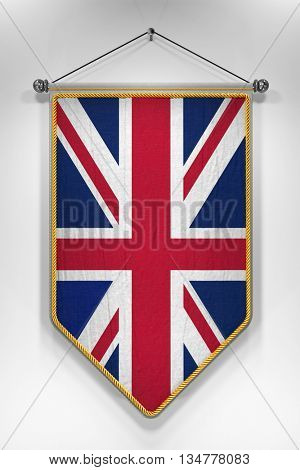 Pennant with UK flag. 3D illustration with highly detailed texture.