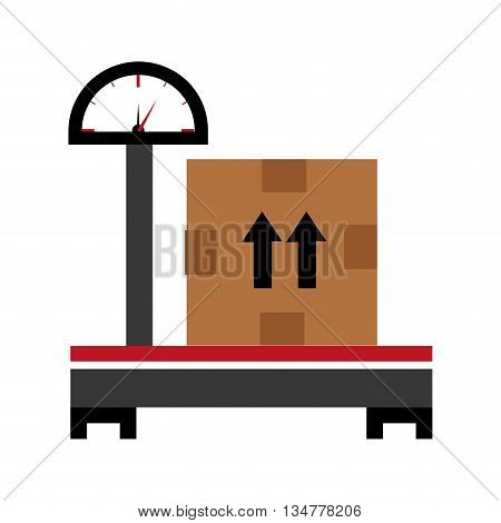 black adn red balance with a big brown box and black arrows over isolated background, vector illustration