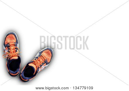 Top Down View Of Orange And White Badminton Sport Shoes On An Isolated White Background With Copy Sp