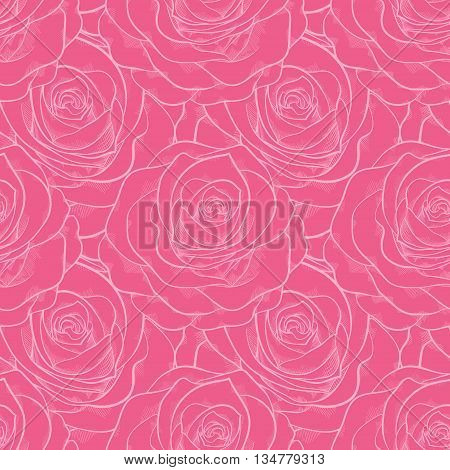 beautiful seamless pattern in roses with contours. Hand-drawn contour lines and strokes. Perfect for background greeting cards and invitations of the wedding birthday Valentine's Day