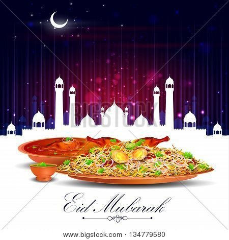 vector illustration of Eid Mubarak Blessing for Eid background with iftar meal