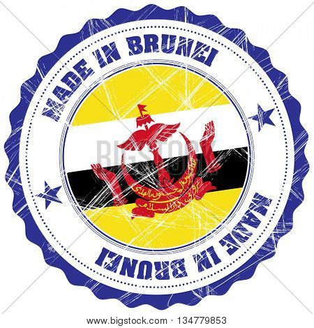 Made in Brunei grunge rubber stamp with flag