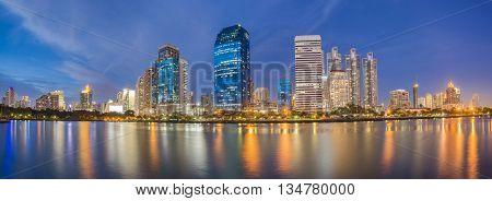 panorama of modern Bangkok cityscape at night