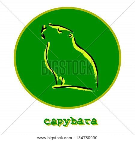 The symbol of a large rodent. In the center of the green circle a picture of an animal. Vector illustration