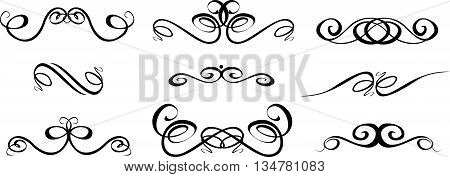 Ornate set of hand drawn vintage frames for text decoration in vector