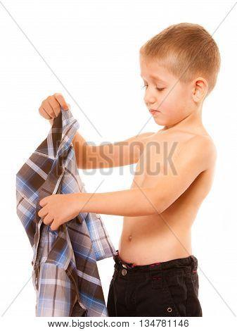Childhood Independence Concept - Little Boy Dressing Up