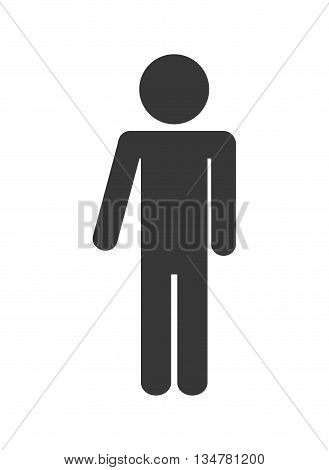 Pictogram of one person, silhouette illustration, flat and isolted design