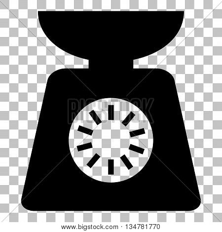 Kitchen scales sign. Flat style black icon on transparent background.