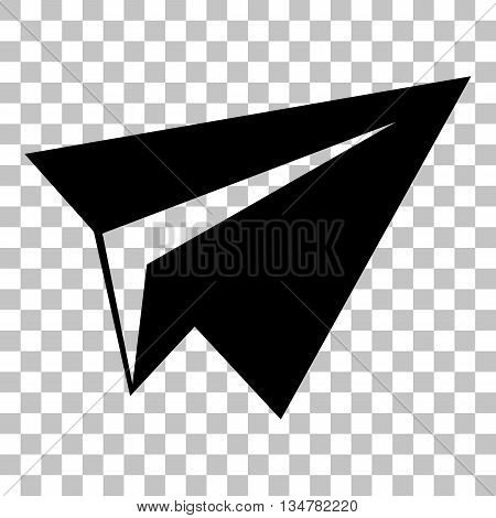 Paper airplane sign. Flat style black icon on transparent background.