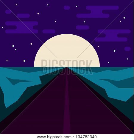 Night road and big moon. Abstract illustration for use in design. Flat style.