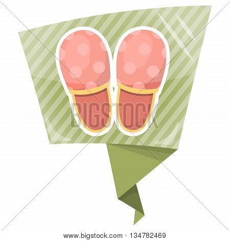 Vector illustration of home slippers. Soft fabric man home slippers